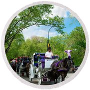 Horse And Carriages Central Park Round Beach Towel