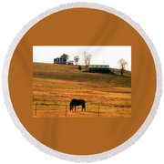 Horse And Farm By Jan Marvin Round Beach Towel