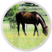 Horse And Flowers Round Beach Towel