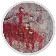 Horse And Rider Cave Painting Round Beach Towel