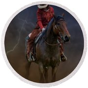 Horse And Rider Round Beach Towel
