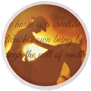 Horse And Rider Silhouette  Round Beach Towel