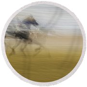 Horse And Sulkie Round Beach Towel