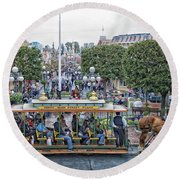 Horse And Trolley Main Street Disneyland 01 Round Beach Towel