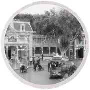 Horse And Trolley Turning Main Street Disneyland Bw Round Beach Towel