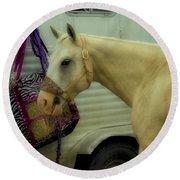 Horse Art 2 Round Beach Towel