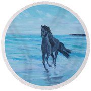 Horse At The Sea Round Beach Towel