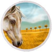 Horse At Yellow Paddy Field Round Beach Towel