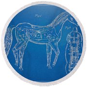 Horse Automatic Toy Patent Artwork 1867 Round Beach Towel by Nikki Marie Smith