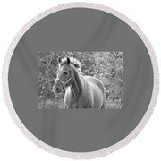 Horse Black And White Round Beach Towel