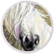 Horse Blowing In The Wind Round Beach Towel