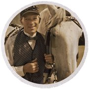 Horse Carriage Driver 1 Round Beach Towel