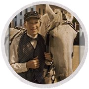 Horse Carriage Driver 3 Round Beach Towel