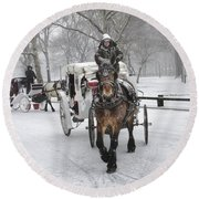 Horse Carriages In Snowy Park Round Beach Towel