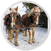 Horse Drawn Sleigh Round Beach Towel by Edward Fielding