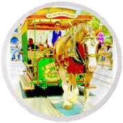 Horse Drawn Trolley Car Main Street Usa Round Beach Towel