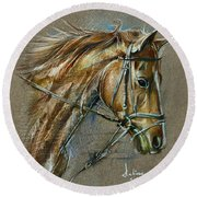 My Horse Face Drawing Round Beach Towel