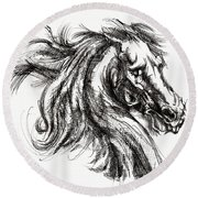 Horse Face Ink Sketch Drawing - Inventing A Horse Round Beach Towel