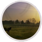 Horse Farm Sunrise Round Beach Towel