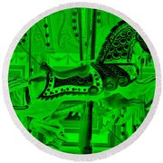 Green Horse E Round Beach Towel