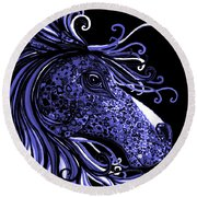 Horse Head Blues Round Beach Towel