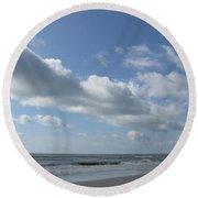 Horse Head Cloud Round Beach Towel