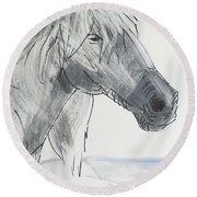 Horse Head Drawing Round Beach Towel