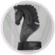 Horse Head Sculpture Black And White Round Beach Towel