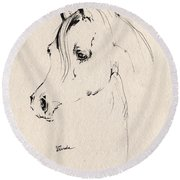 Horse Head Sketch Round Beach Towel