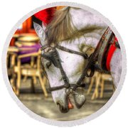 Horse In Cracow Round Beach Towel