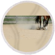 Horse In Motion Round Beach Towel