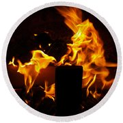 Horse In The Fire Round Beach Towel