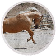 Horse Jumping Round Beach Towel
