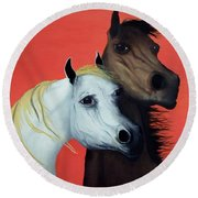 Horse Lovers In Red  Sold Round Beach Towel