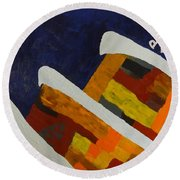 Horse Mountains Round Beach Towel