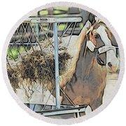 Horse N Hay Round Beach Towel