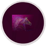 Horse Of Fire Round Beach Towel