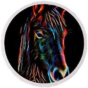 Horse On Black Round Beach Towel