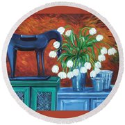 Horse On The Cupboard Round Beach Towel
