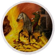 Horse On The Fire Round Beach Towel