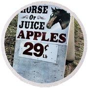 Horse Or Juice Apples Round Beach Towel