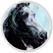 Horse Painted Black Round Beach Towel