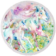 Horse Painting.17 Round Beach Towel