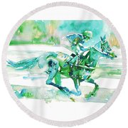 Horse Painting.18 Round Beach Towel