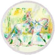 Horse Painting.19 Round Beach Towel