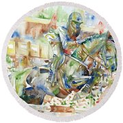 Horse Painting.21 Round Beach Towel