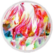 Horse Painting.22 Round Beach Towel