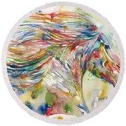 Horse Painting.24 Round Beach Towel