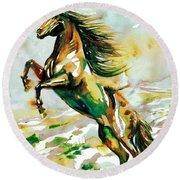 Horse Painting.25 Round Beach Towel