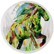 Horse Painting.26 Round Beach Towel